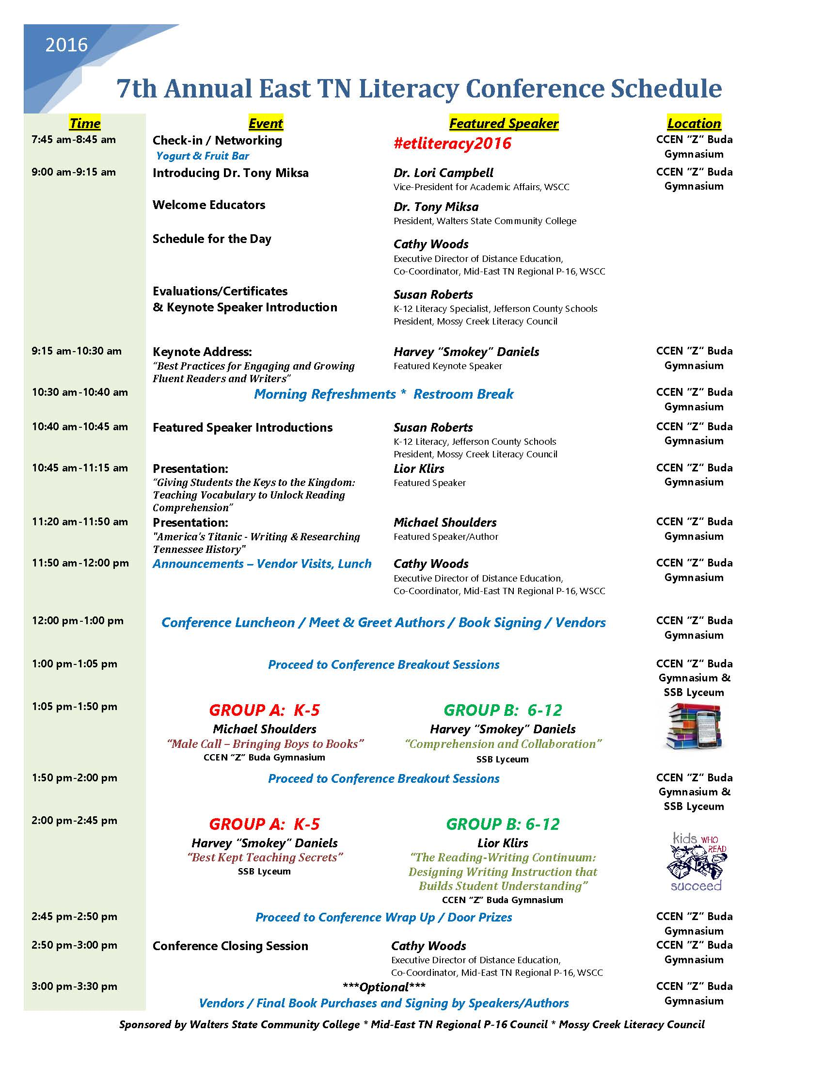 7th Annual Literacy Conference Schedule